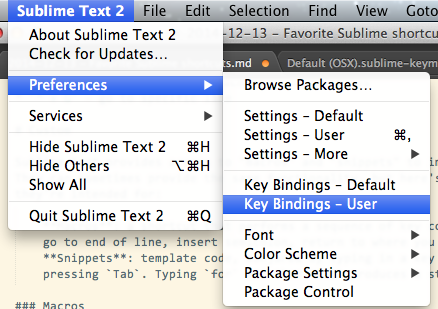 sublime text key bindings end of line